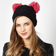 Black knitted hat with two pom poms