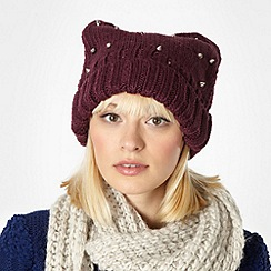 Red Herring - Purple square studded beanie hat