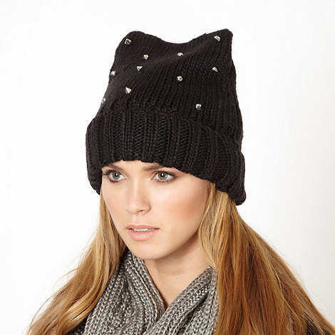 Red Herring - Black studded beanie hat