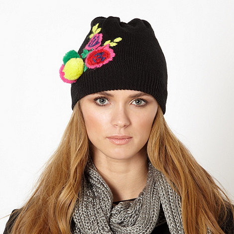 Red Herring - Black embroidered flower beanie hat