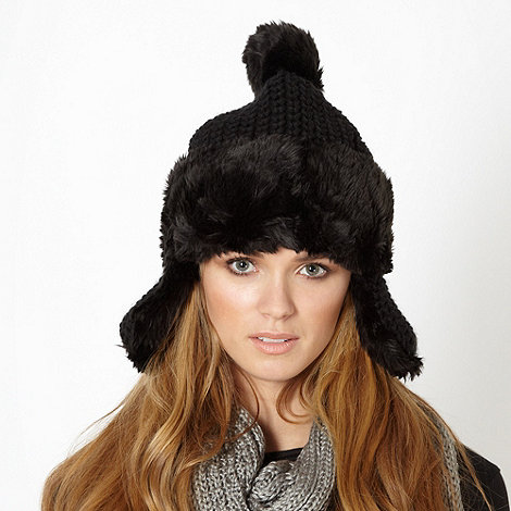 Red Herring - Black faux fur trimmed trapper hat