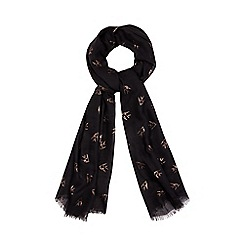 Nine by Savannah Miller - Black foil-effect bird print scarf