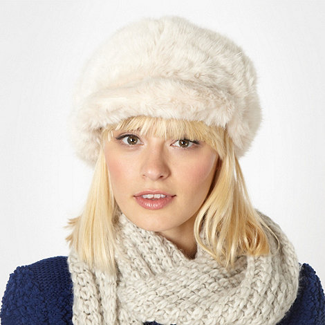 Red Herring - Cream faux fur peaked beanie hat