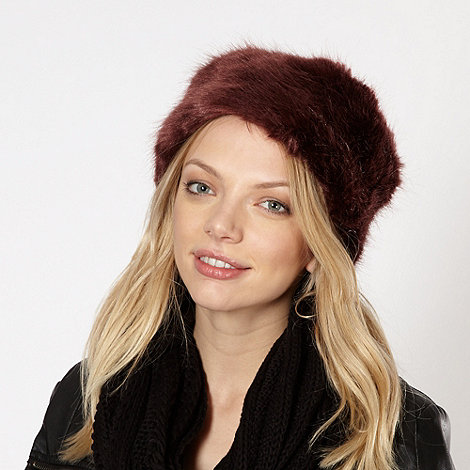 Red Herring - Wine faux fur hat