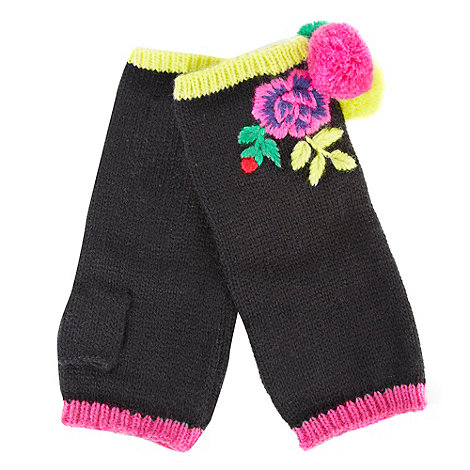 Red Herring - Black floral pom pom knitted hand warmers