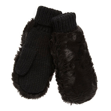 Red Herring - Black faux fur mittens
