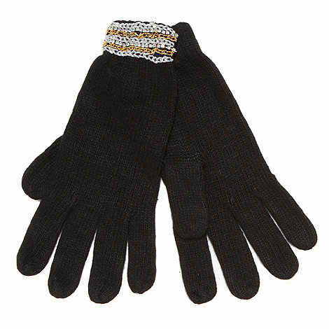 Red Herring - Black jewel cuff gloves