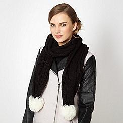 Red Herring - Black knitted scarf with pom pom trim