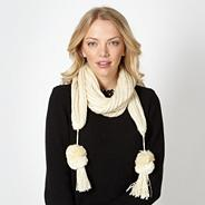 Cream pom pom trim knitted scarf