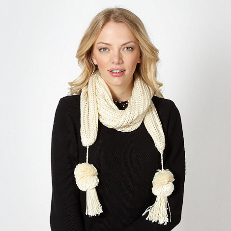 Red Herring - Cream pom pom trim knitted scarf