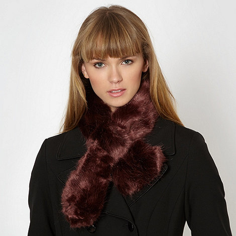 Red Herring - Wine faux fur satin scarf