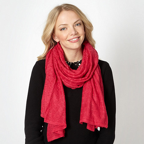 Red Herring - Dark pink pointelle knit scarf