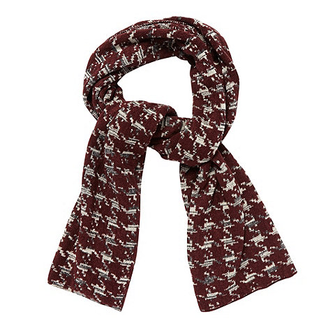 Red Herring - Dark red dogtooth boucle scarf