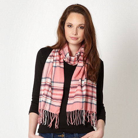 Red Herring - Pink brushed tartan scarf