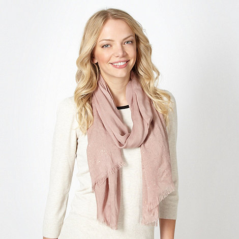 Red Herring - Pale pink foil border scarf