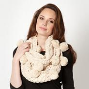 Natural pom pom trim snood