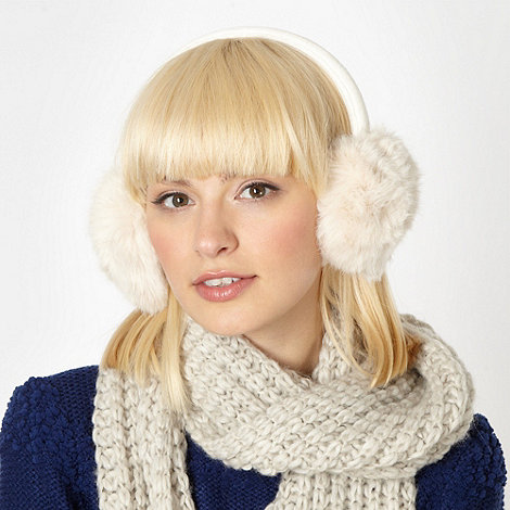 Red Herring - Cream faux fur earmuffs