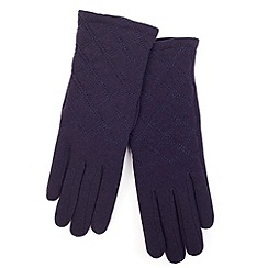 Isotoner - Navy quilted stitch thermal gloves