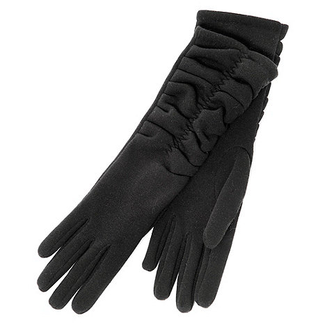 Isotoner - Black long ruched thermal fabric gloves