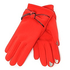 Isotoner - Red knot detail smartouch thermal gloves