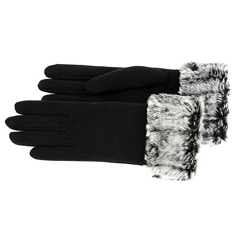 Isotoner - Black fur cuff thermal gloves