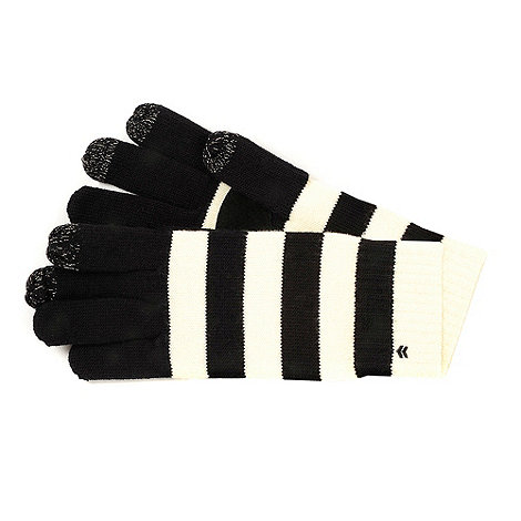 Isotoner - Cream stripe knitted smart touch gloves