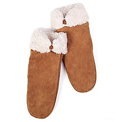 Isotoner - Tan sherpa lined suede mitten