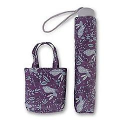 Totes - Hare print supermini umbrella with matching folding shopper bag