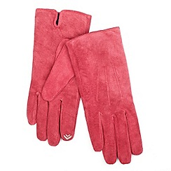 Isotoner - Red suede smartouch gloves
