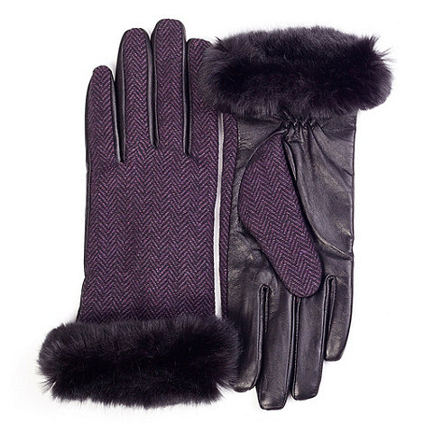Isotoner - Purple herringbone faux fur cuff gloves with leather palm