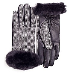 Isotoner - Black herringbone faux fur cuff gloves with leather palm