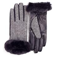 Black herringbone faux fur cuff gloves with leather palm