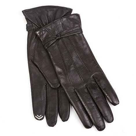 Isotoner - Black leather knot detail smartouch gloves