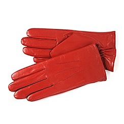 Isotoner - Red three point leather gloves with fleece lining