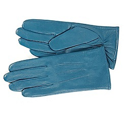 Isotoner - Teal three point leather gloves with fleece lining