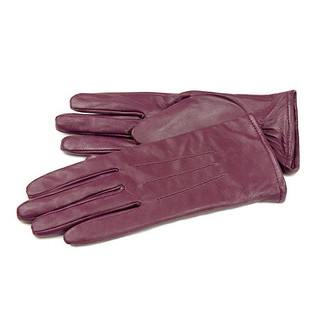Isotoner - Berry three point leather gloves with fleece lining