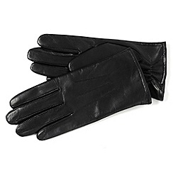 Isotoner - Black three point leather gloves with fleece lining