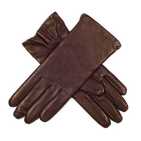 Paris by Isotoner - Caramel elegant smooth leather gloves with luxurious silk lining