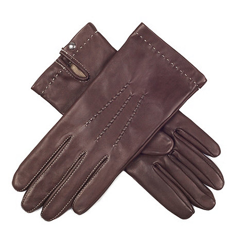 Paris by Isotoner - Brown hand stitch leather gloves with luxurious silk lining