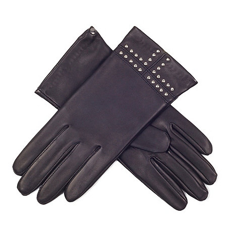 Paris by Isotoner - Black stud cuff detail gloves with luxurious silk lining