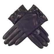 Black bow detail gloves with luxurious silk lining