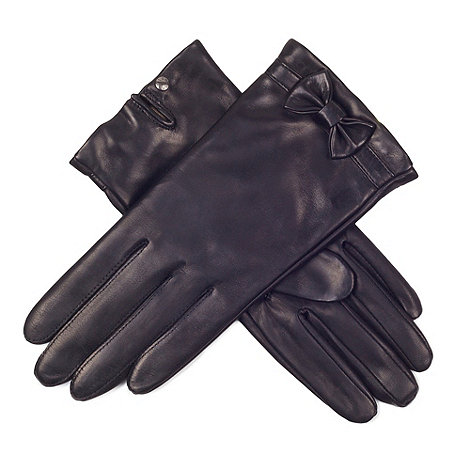 Paris by Isotoner - Black bow detail gloves with luxurious silk lining