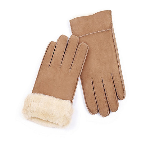 Just Sheepskin - Dark tan sheepskin gloves