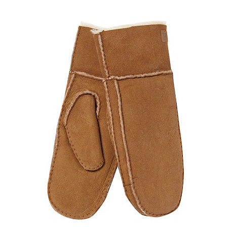 Just Sheepskin - Dark tan sheepskin mittens