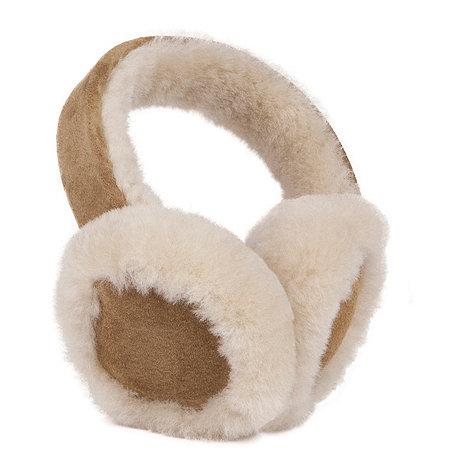 Just Sheepskin - Dark tan suede leather front sheepskin earmuffs