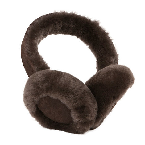 Just Sheepskin - Brown suede leather front sheepskin earmuffs