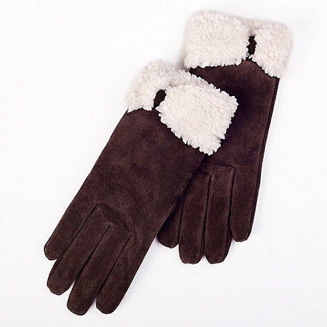 Isotoner - Chocolate sherpa lined suede gloves