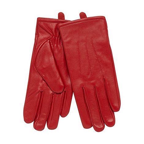 Isotoner - Red stitched leather gloves