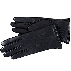 Isotoner - Navy three point leather gloves with fleece lining