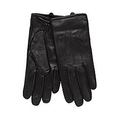 Isotoner - Black stitched leather gloves